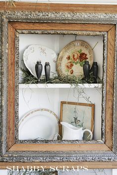 Old frame repurposed into a shabby corner wall cupboard Old Frames, Vintage Frames, Vintage Decor, Home Projects, Projects To Try, Corner Shelves, Corner Wall, Book Shelves, Looks Vintage