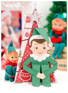 Cute elf on the shelf card from the Santa's Helpful Elves SVG Kit - SVGCuts #diy #christmas #papercrafts #svgfiles