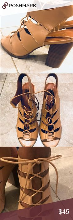 Saks Fifth Avenue Lace-Up Heels - Size 11 Cute Tan Lace-Up Sandals from Saks Off Fifth. Worn once to graduation, but they don't really fit. These are a size 11 and and they don't fit. Runs Small. 10/10.5 size would fit perfectly. Saks Fifth Avenue Shoes Heels