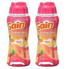 Gain Fireworks Tropical Sunrise Scent In-Wash Scent Booster 2 Bottle Pack Gain Fireworks, Laundry Detergent, Cleaning Supplies, Sunrise, Snack Recipes, Chips, Home And Garden, Tropical, Eyebrow