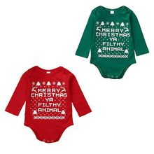 2016 Cute Baby Jumpsuit !!Cotton Newborn Toddler Baby Boy Girls Soild Letter Long Sleeve Jumpsuit Outfits Christmas 0-18M(China (Mainland))