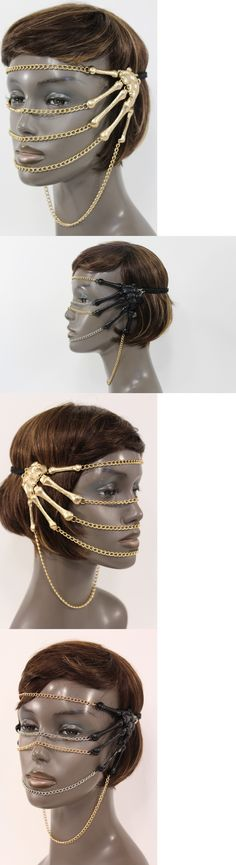 Hair and Head Jewelry 110620: Women Gold Silver Metal Head Chain Cover Face Mask Fashion Jewelry Skeleton Hand BUY IT NOW ONLY: $53.99