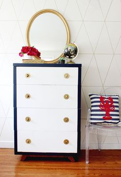 DIY Chalk Paint Dresser - The navy, white and pink combo is so fun yet classy! Love this painted dresser! Furniture Makeover, Diy Furniture, Furniture Design, Furniture Projects, Chalk Paint Dresser, Chalky Finish Paint, Furniture Inspiration, Unique Home Decor, Painted Furniture