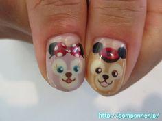ミッキーの変装をしたダッフィーとシェリーメイちゃんのネイル  #nail  #nails