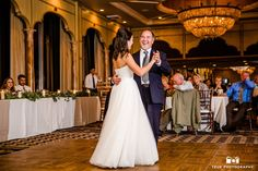 Father smiles while dancing during father and daughter dance at wedding reception #weddingphotography / follow @TruePhotography