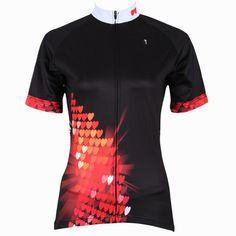 Women Cycling Jersey Heart-shaped Black Cycling Clothing Women Bike Short  Sleeve Cycling Jersey X213 4f928f72c