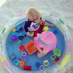 A Kids Beach Pool is a lifesaver for young kids. Fill with water or keep empty and fill with toys. It's also great for a nap from Baton Rough Moms. and 40 Fun Beach Tips and Tricks - Hacks and Ideas for Your Trip to the Sand