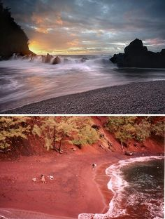 Shore Beauty: The World's 10 Most Amazing Beaches The Red Sand Beach of Kaihalulu can be found on the Hawaiian island of Maui, south of Hana Bay on the far side of Ka'uiki Hill.