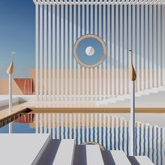 Immerse Yourself in These Unbelievable Modernist Visualizations Minimalist Architecture, Interior Architecture, Interior Design, Stage Design, 3d Design, Decoration, Retro, Inspiration, Swimming Pools