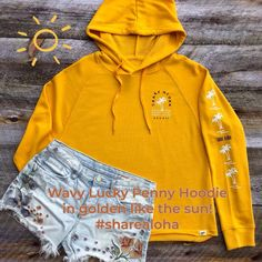 The Wavy Lucky Penny Hawaii hoodie is available now! The golden color reminds me of the sun in full glory! Perfect for summer days and nights.  Additional colors available. Lucky Penny, Golden Color, Hoodies, Sweatshirts, Summer Days, Hawaii, Shop Now, Sun, Colors