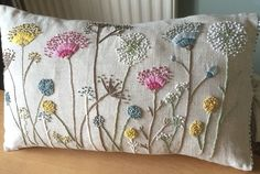 Cushion Embroidery, Crewel Embroidery, Embroidery Applique, Cross Stitch Embroidery, Machine Embroidery, Embroidered Cushions, Hand Embroidery Patterns Flowers, Hand Embroidery Stitches, Hand Embroidery Designs