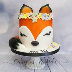 Sleepy Little Fox cake for little girl's 10th birthday