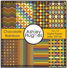 FREE Chocolate Rainbow: 12x12 Digital Papers