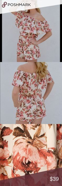Floral Off the Shoulder Romper White and pink rose floral romper. Off the shoulder ruffle and cinch waist. Pants Jumpsuits & Rompers