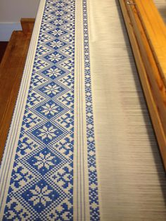 Opphamta pattern, woven on a Drawloom at Vavstuga in 16/2 cotton