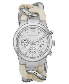 Michael Kors Women's Chronograph Runway Twist Alabaster Acetate and Silver-Tone Stainless Steel Bracelet Watch 38mm MK4263
