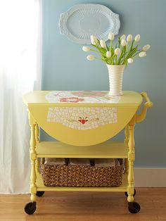 Love this yellow tea cart and the mosaic work on it. Beautiful!