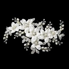 Bridal Ivory Floral Hair Clip with Freshwater Pearls & Swarovski Crystals