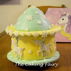 Unicorn carousel cake by The Caking Fairy. Loved making this one for my amazing mother in-law :-) Carousel Cake, Celebration Cakes, Law, Unicorn, Fairy, Amazing, Desserts, How To Make, Cakes