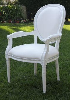 Chairs for the heads of the table -Cielo Blanco Louis Arm Chair   Town & Country Event Rentals