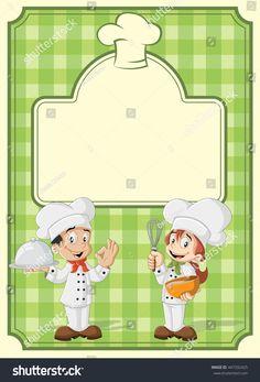 Green restaurant menu with cartoon chefs cooking.