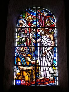 Vitrail by dynamosquito, via Flickr   Stained-glass of the Saint-Pierre church at Melle. This church is typical of the roman art in Poitou-Charentes and was built in the XIth-XIIth century BCE. Taken at Melle, Deux-Sèvres, Poitou-Charentes. #Stained_Glass #Religious