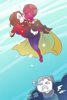 Pietro being the cute brother. Sorry dude but I ship vision and Wanda soooooooo