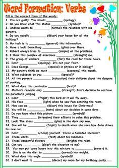 Word Formation:Verbs worksheet - Free ESL printable worksheets made by teachers
