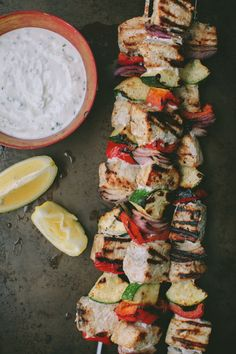 Grilled Swordfish Kabobs With Garlic Yogurt Sauce Grilled Swordfish Kabobs With Garlic Yogurt Sauce Bell Pepper Red Onion Zucchini Parsley Lemon Fish Seafood Healthy Grill Healthy Grilling, Grilling Recipes, Seafood Recipes, Cooking Recipes, Seafood Dishes, Dinner Recipes, Kebab Recipes, Cooking Games, Lunch Recipes