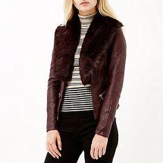 Red leather-look faux fur biker jacket - jackets - coats / jackets - women