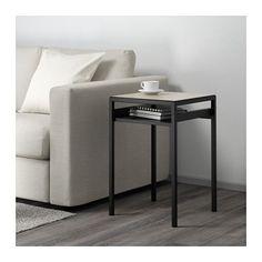 NYBODA Side table w reversible table top, black/beige black/beige 15 3/4x15 3/4x23 5/8