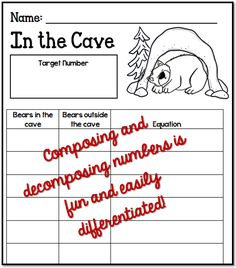 Math Coach's Corner: Freebie for Composing and Decomposing Numbers teddy bear counters with an unknown addend