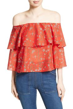 $250 BUY NOW  You won't mind leaving winter behind with something this bright and colorful. Theruffled off-the-shoulder styleis too cute to pass up, and made with a luxe blend of airy cotton and silk.