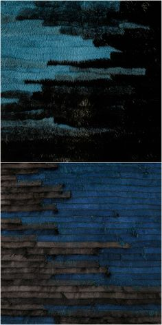 Halfcoloured blue and black fur mixed in horizontal 1cm stripes and sewn on fur-maschine.
