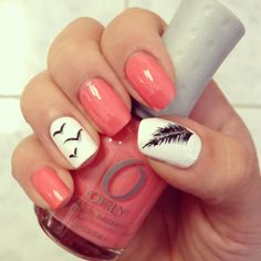 Feather & bird nails with coral, black and white