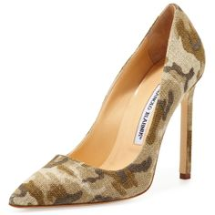 Manolo Blahnik Camo BB Linen 115mm Pump