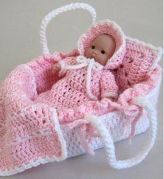 Moses basket and crocheted baby doll pattern to purchase