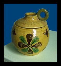 Vintage Antique Mid Century Modern Italian Pottery Cookie Jar Rosenthal Netter Pretty Design  by QueWhat, $20.00