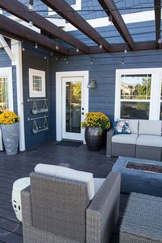 slate blue with white trim and cedar accents exterior Navy Blue Houses, House Design, Home, Paint Colors For Home, House Siding, House Exterior, New Homes, Blue Siding, House Exterior Blue