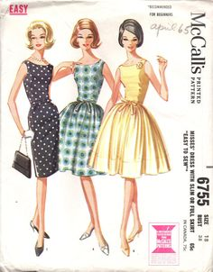 Sleeveless, scooped neck dress with slim three gore skirt or gathered four gore skirt. Sheer overskirt may be included in waistline seam with