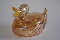 Vintage Marigold Carnival Glass Duck Shape Candy by WisdomLane Yellow Painting, My Glass, Carnival Glass, Vintage Glassware, Candy Dishes, Marigold, Cool Items, 1930s, Vintage Items