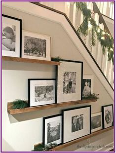 Picture Shelves, Picture On Wood, Gallery Wall Shelves, Stairway Gallery Wall, Nice Picture, Gallery Walls, Frame Wall Decor, Frames On Wall, Staircase Wall Decor