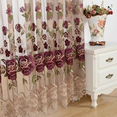 Floral Beautiful and Elegant Pattern sheer curtains Elegant Curtains, Sheer Curtains, Drapery, Valances For Living Room, Coffee Table Cover, Interior Design Programs, Interior Sliding Barn Doors, Home Remodeling Diy, Curtain Fabric