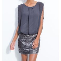 NEW---Aidan Mattox Chiffon and Sequin Dress