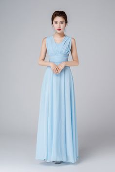 Blue chiffon dress, you can wear it in any method you prefer.  ** DETAILS ** * Maxi blue chiffon dress * Wedding dress, prom dress * The dress has many wear ways, you can tie it as your want * It can adjustment by the back string * SIZE GUIDE http://etsy.me/2AC9UzJ  NOTE Please leave us your