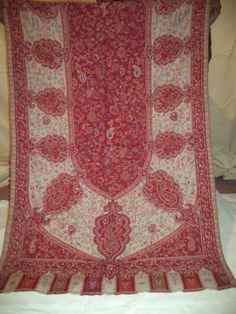 Large, Red, Hand-Cut Kani Shawl. Jamavar, Wool, Jacquard Stole. Paisley Jamawar #ShawlWrap