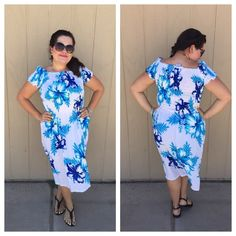 "LISTING Blue Señorita Dress Very festive and adorable. Also can be worn off shoulder. Has a large elastic around waist and arms and neckline for a perfect fit. 42"" long and PTP is 23"" stretched. Waist is 26"" stretched. 100% rayon. Model says will fit up to a 2X. NF Dresses"