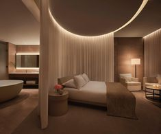 Designed by SCDA Architects with interiors by I. Design Studio/CAP Atelier, the Sanya Edition was inspired by the sea Hotel Bedroom Design, Home Room Design, Dream Home Design, Modern House Design, Home Interior Design, Luxury Rooms, Luxurious Bedrooms, Suites, Modern Bedroom