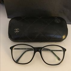 Authentic Chanel glasses frame with classic logo. Authentic Chanel frame. Used for about a year.  Frame itself is in perfect condition! No scratch. Original case has obvious signs of use but still functional. CHANEL Accessories Glasses