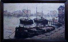 Coudret - Porto - óleo sobre tela - assinado no canto inferior direito - Med 60 x 100 cm.